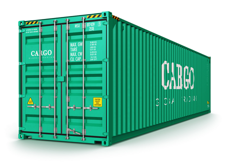 Creative abstract shipping, logistics and freight transportation commercial business trading industrial concept: 3D render illustration of green 40 ft metal color cargo container isolated on white background Stockfoto