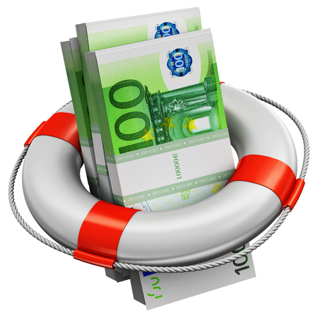 Creative abstract banking, accounting finance investment risk and financial success development and growth concept: 3D render illustration of the bundles of 100 Euro paper money banknotes in the inflatable ring lifesaver belt or buoy isolated on white background Stockfoto