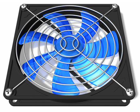 3D render illustration of blue computer PC chassis and CPU cooler fan isolated on white background