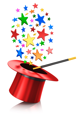 Creative abstract 3D render illustration of the black silk magic hat with red ribbon and magic wand stick with cloud of shiny color stars isolated on white background with reflection effect
