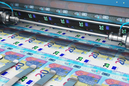 Business success, finance, banking, accounting and making money concept: 3D render illustration of printing 20 Euro money paper cash banknotes on print machine in typography