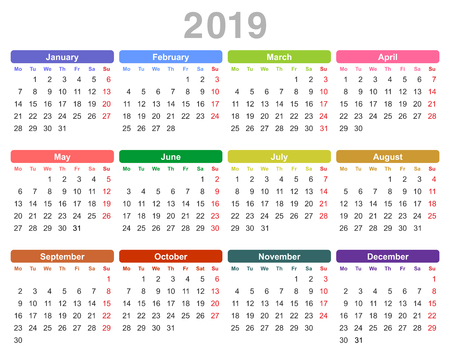 Ilustración de vector de color del calendario anual del año 2019 (lunes primero, inglés) aislado sobre fondo blanco Ilustración de vector