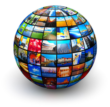 Creative abstract web streaming media TV video service technology, multimedia business internet communication and cinema content production concept: 3D render illustration of round sphere or globe with color pictures and colorful photos collage or montage isolated on white background Stockfoto