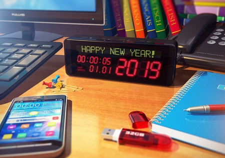 Creative abstract New Year 2019 beginning celebration business concept: 3D render illustration of the macro view of digital alarm clock with Happy New Year! message on wooden table among office objects - smartphone or mobile phone, desktop computer PC, notebook, pen, books and others with selective focus effect