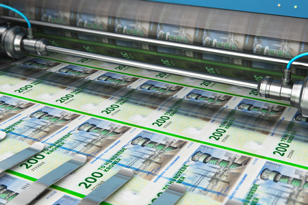 Business success, finance, banking, accounting and making money concept: 3D render illustration of printing 200 DK Danish krona money paper cash banknotes on print machine in typography Stockfoto