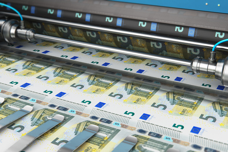 Business success, finance, banking, accounting and making money concept: 3D render illustration of printing 5 Euro money paper cash banknotes on print machine in typography