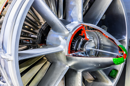 Creative abstract aviation industry technology concept: macro view of the airliner turbojet turbine engine equipment