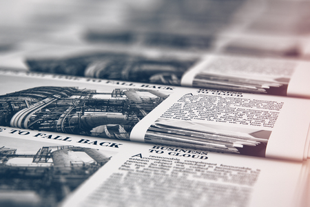 3D render illustration of the macro view of printing black and white daily business newspapers or news papers on the offset print machine in typography with selective focus bokeh blur effect