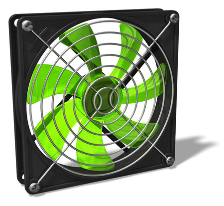 3D render illustration of green computer PC chassis and CPU cooler fan isolated on white background Stockfoto