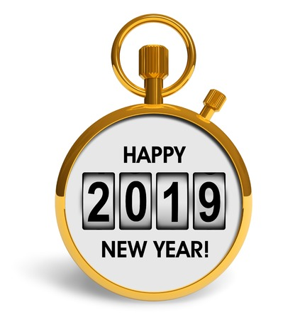 Creative abstract New Year 2019 beginning celebration concept: 3D render illustration of golden stopwatch with Happy New Year 2019 congratulation text isolated on white background