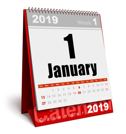 Creative abstract New Year 2019 beginning celebration business concept: 3D render illustration of the red office desktop January 2019 month calendar isolated on white background Stockfoto