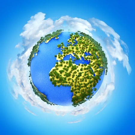 Creative abstract global ecology and environment protection business concept: 3D render illustration of miniature mini green Earth planet globe with world map against blue sky with white clouds background
