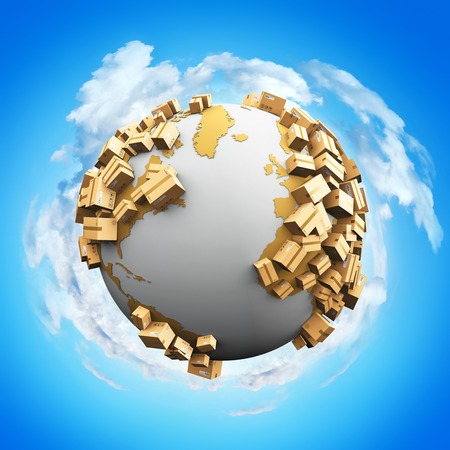 Creative abstract worldwide shipping, recycling and environmental damage business industry concept: 3D render illustration of the white Earth globe with map covered with a group of cardboard package boxes against blue sky with white clouds background