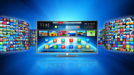 Creative abstract web streaming media TV video service technology, multimedia business internet communication and cinema content production concept: 3D render illustration of modern curved smart television screen display monitor with endless walls of screens with color photos and colorful displays with different images on blue background