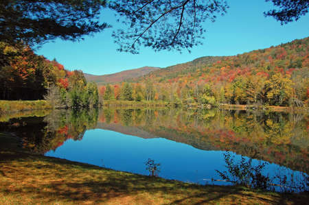 Reflections in a pond during fall foliage season in Vermont. photo