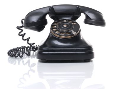 phone cord: Antique phone Stock Photo