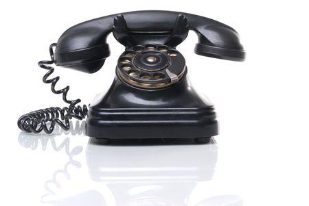 repondre au telephone: Antique t�l�phone Banque d'images