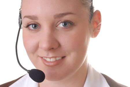 Beautiful young helpful lady smiling with headphones photo