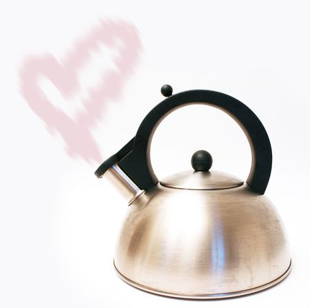Kettle with heart-shaped steam isolated on white