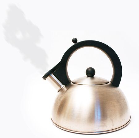 Kettle with steam isolated on white Banco de Imagens