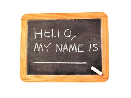 A chalkboard with Hello, My Name Is _______ Ready for your information.