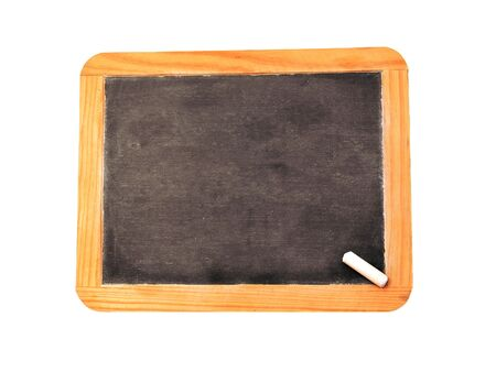 A blank chalkboard with a peice of chalk.