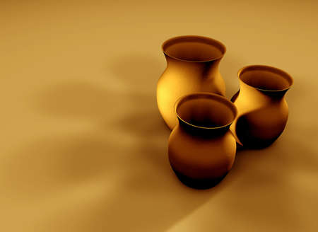 Three 3D clay textured jugs with deep shadows.