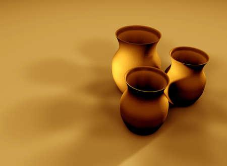 Three 3D clay textured jugs with deep shadows.