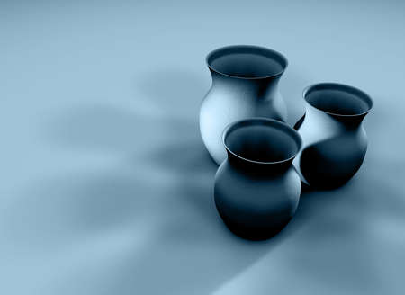 Three 3D clay textured jugs with deep shadows