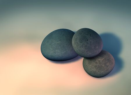 3D rendering of 3 single pebbles on a solid background.