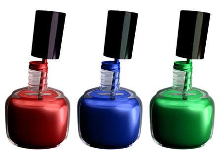 3D rendering of 3 bottles of nail polish