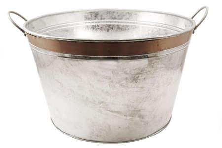 Isolated tin tub on white