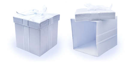 Open and closed fabric gift boxes - Hi-Res