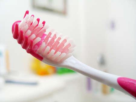 Macro shot of a toothbrush. High key.