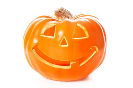 A decorative halloween pumpkin isolated on white Stock Photo