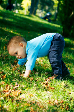 Adorable little boy playing in a park photo