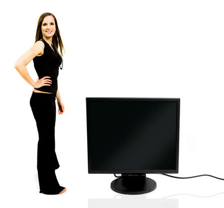 Beautiful young woman with a digital display