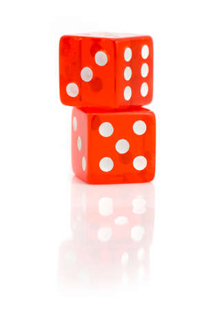 Two red dice isolated on white  Stock Photo