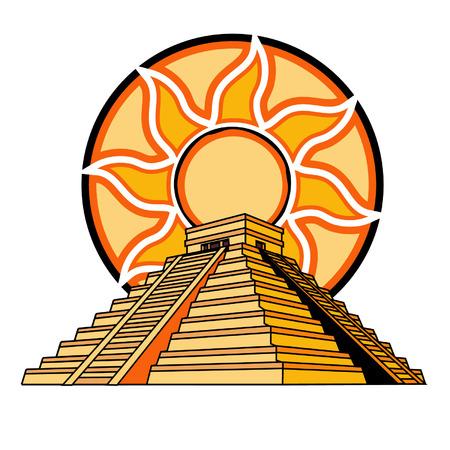 Maya oder Azteken-Tempel mit Sun-Fire Hintergrund Vektorgrafik