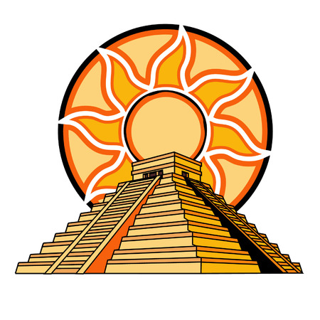 Mayan or Aztec Temple with Sun-Fire Background Illustration