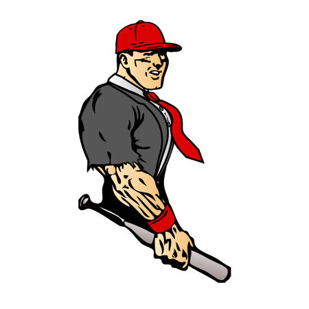 ripping shirt: Business man with baseball bat and ripped muscles