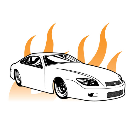 Hod Rod Drag Racing: Scion tC NHRA with Flames Stock Illustratie
