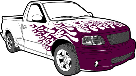 fiery: Truck with painted flames and body kit Illustration