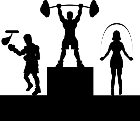 weight lifting: fitness silhouette