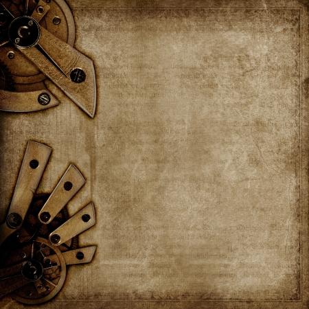 steampunk: Dark vintage background with old grunge paper texture and mysterious machinery. Stock Photo