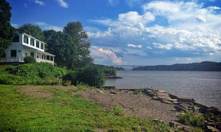 Quiet cove park on Hudson river