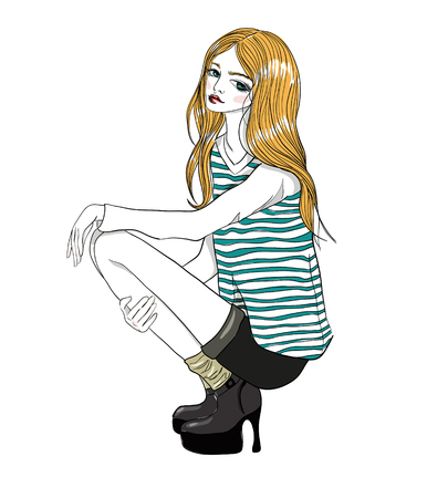 girl squatting: A squatting girl. Model girl in a sailor suit.  Illustration