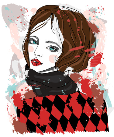 black hair blue eyes: Portrait of a beautiful girl in a scarf and a diamond pattern sweater. fashion illustration on abstract background
