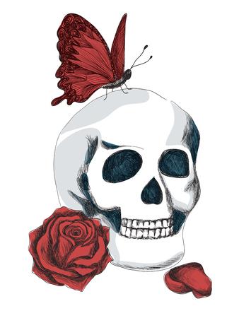 Cráneo, rosa roja y la mariposa roja. Ilustración gótica