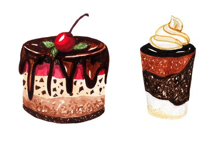 cake with icing: Desserts. Cherry and chocolate cake. Watercolor illustration on white background